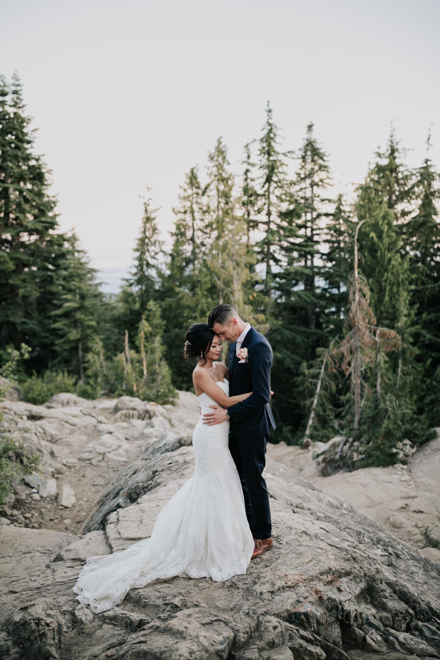 Couple Portrait Session Grouse Mountain Rocks Forest Views
