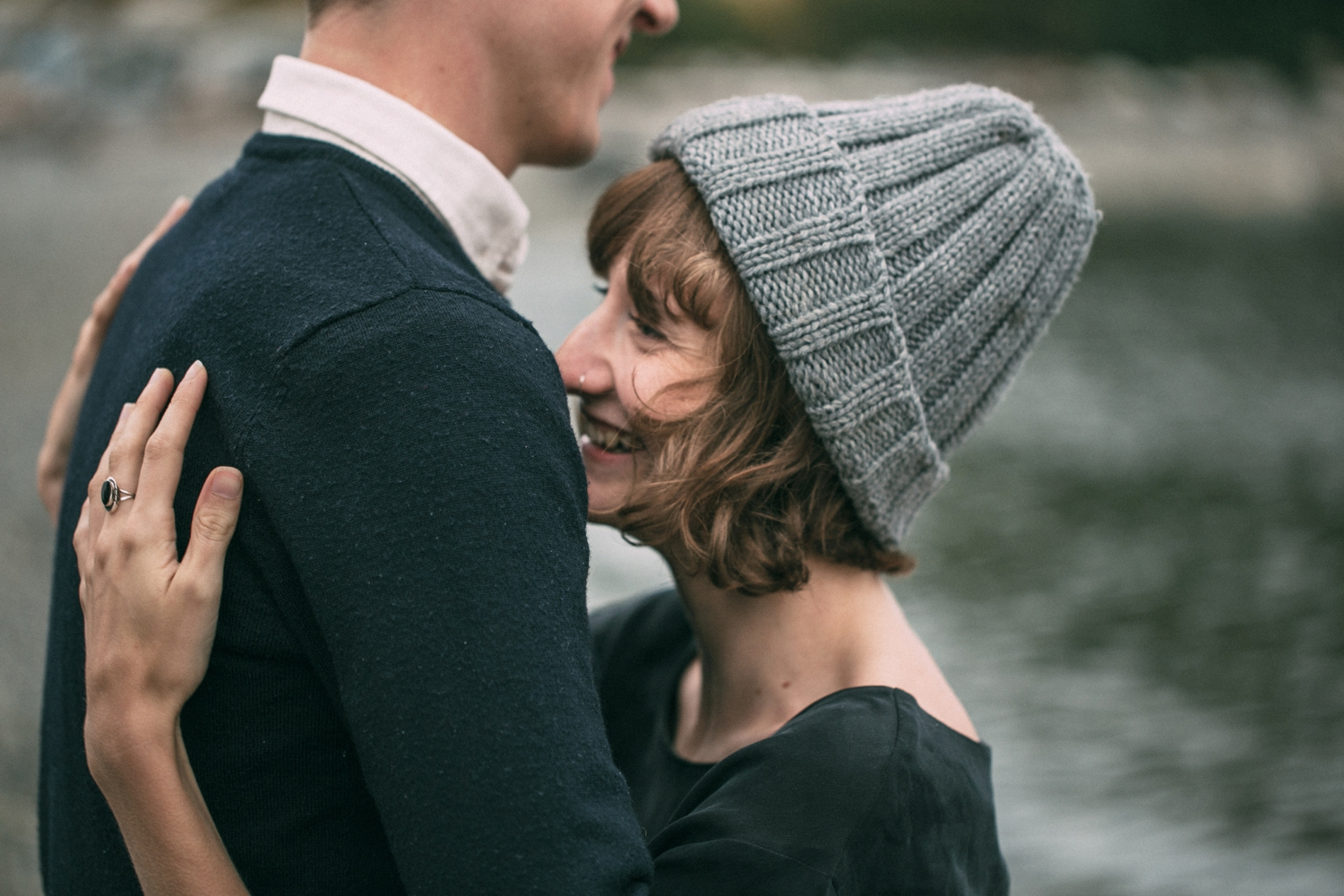 Vancouver Based Wedding Photographer captures natural and fun moments between engaged couple during their engagement photo shoot in Gas Town