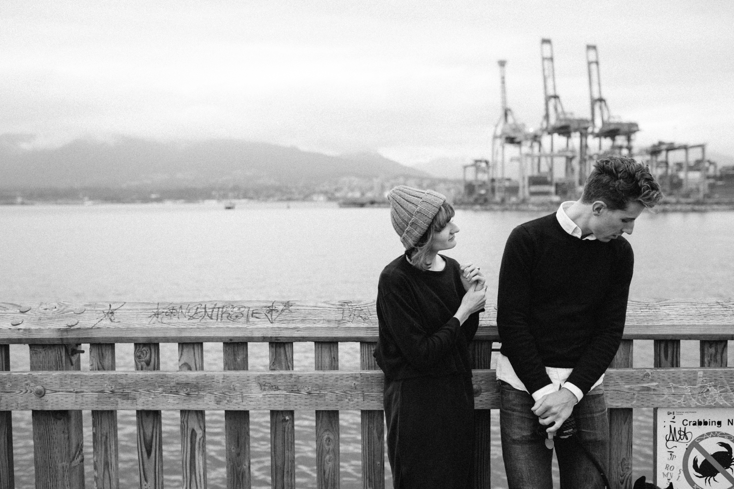 Candid Quirky Moment At Harbour Engagement Shoot Vancouver