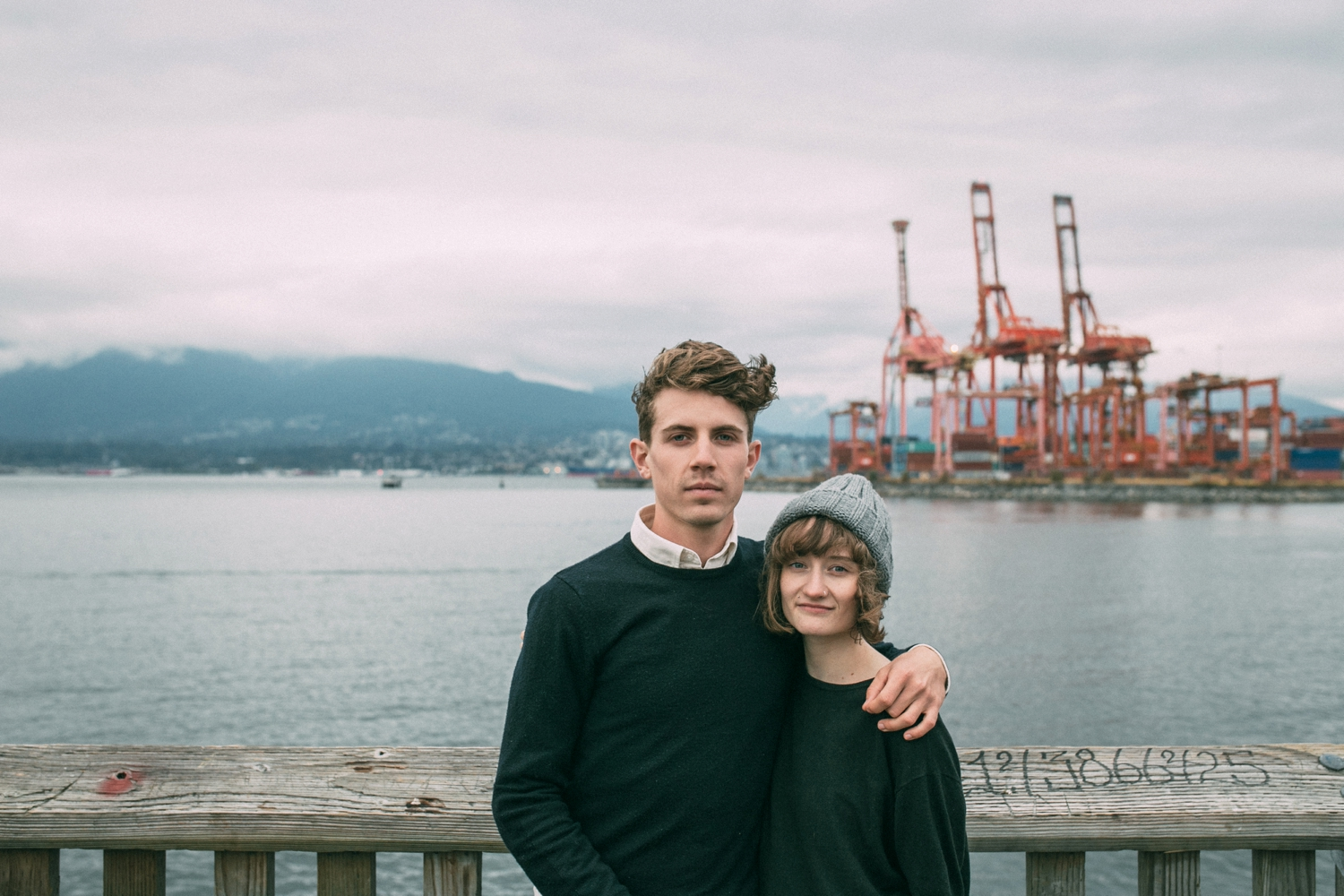 Engagement Photography Session in the harbour overlooking the sea in Vancouver