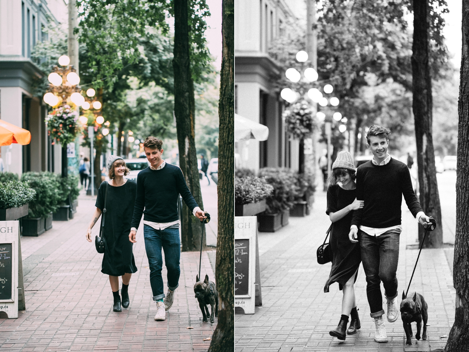 Couple laughing walking on Gas Town Streets Engagement Session