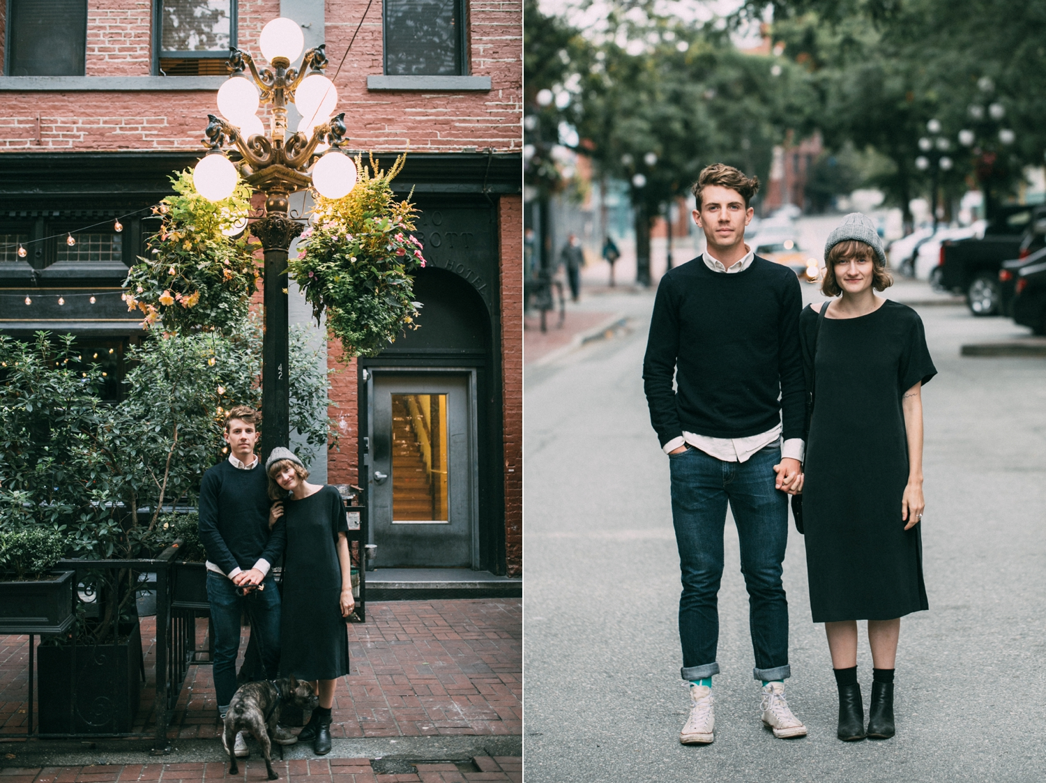 Engagement photography shoot of a hipster couple in Gas Town, Vancouver