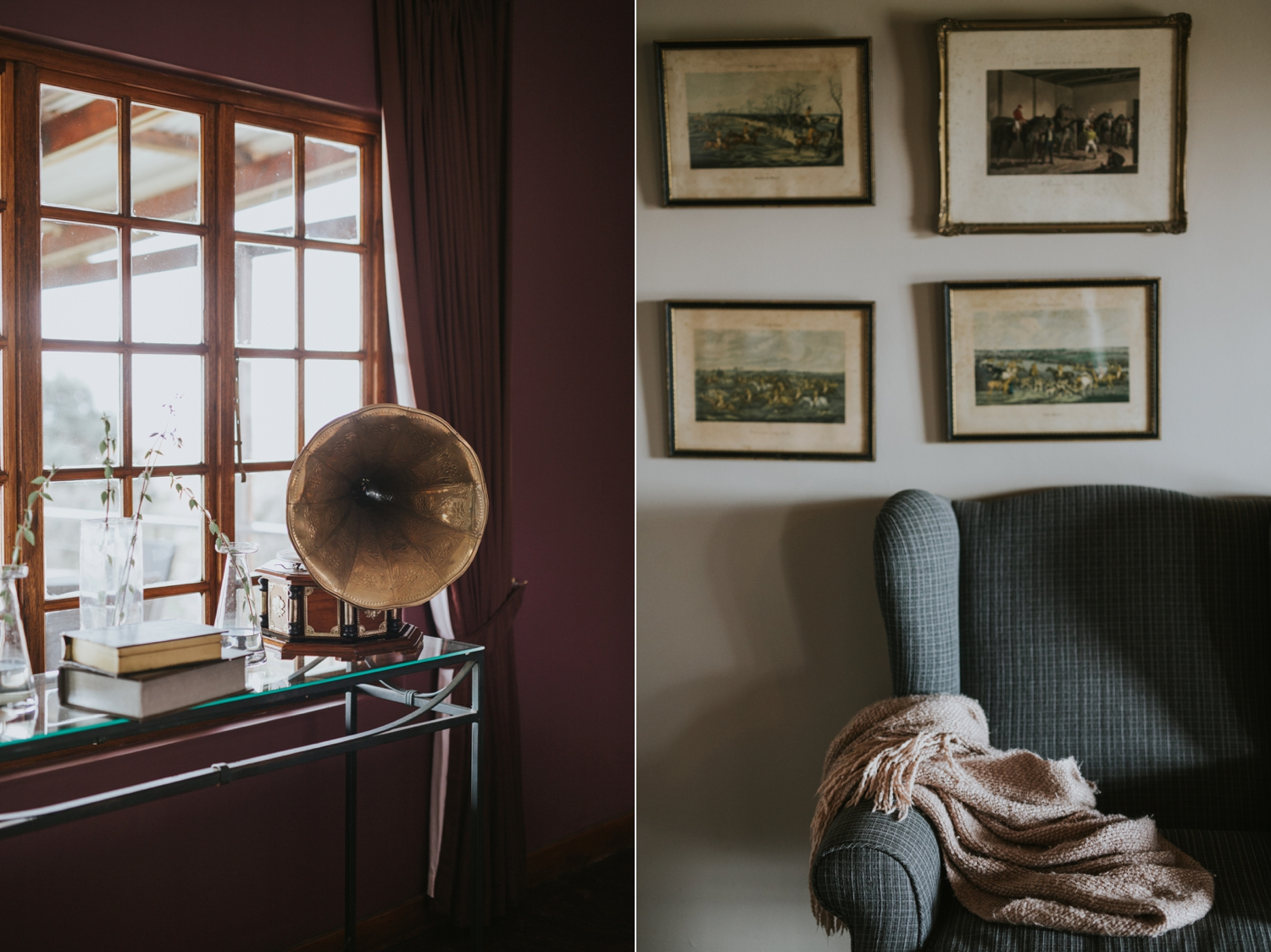 Old Brass Gramophone Bride Getting Ready Room Netherwood