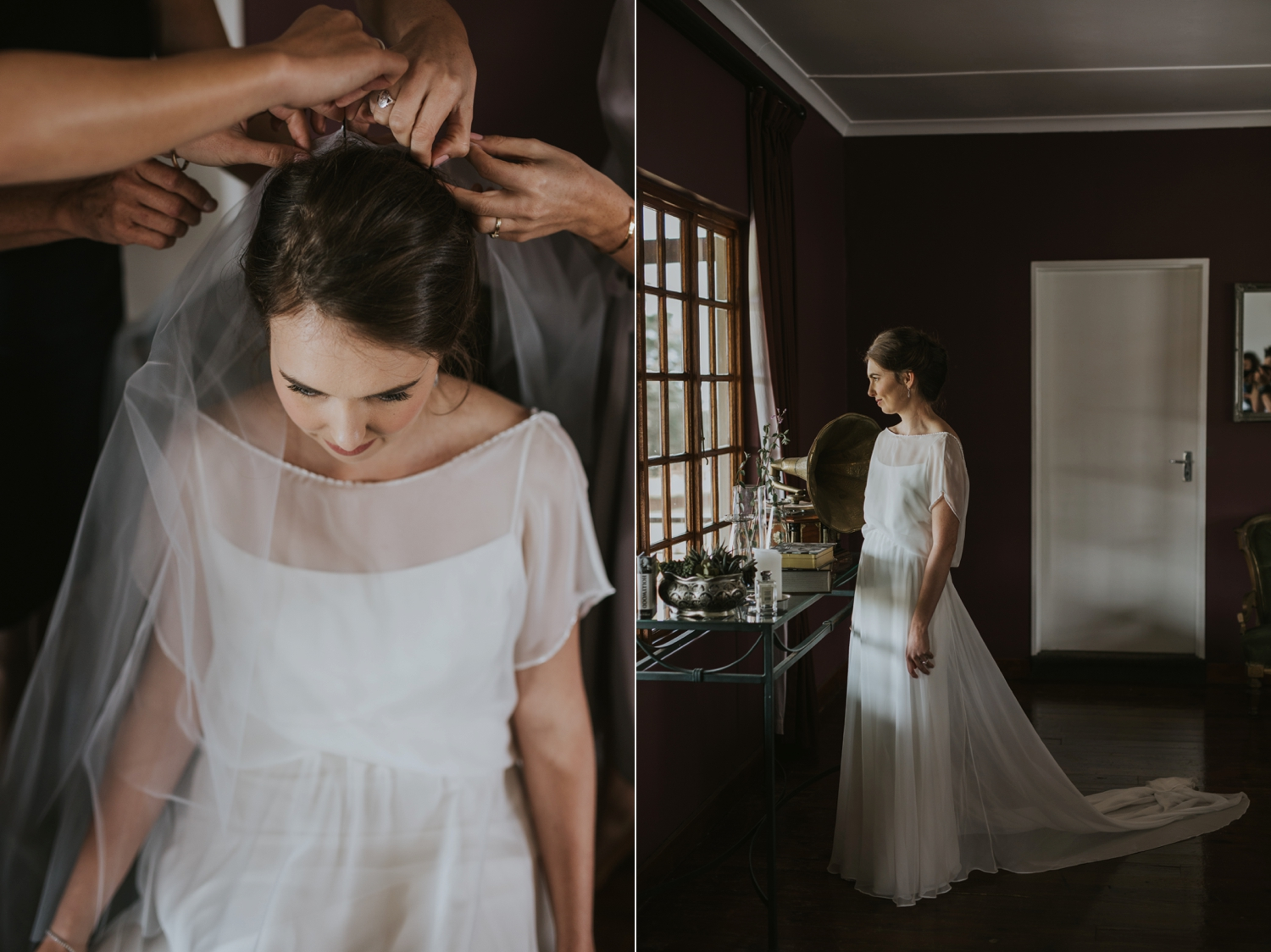 Mom Helping Bride Get Dressed In Simple Elegant Classic Layered Wedding Dress And Leather Shoes