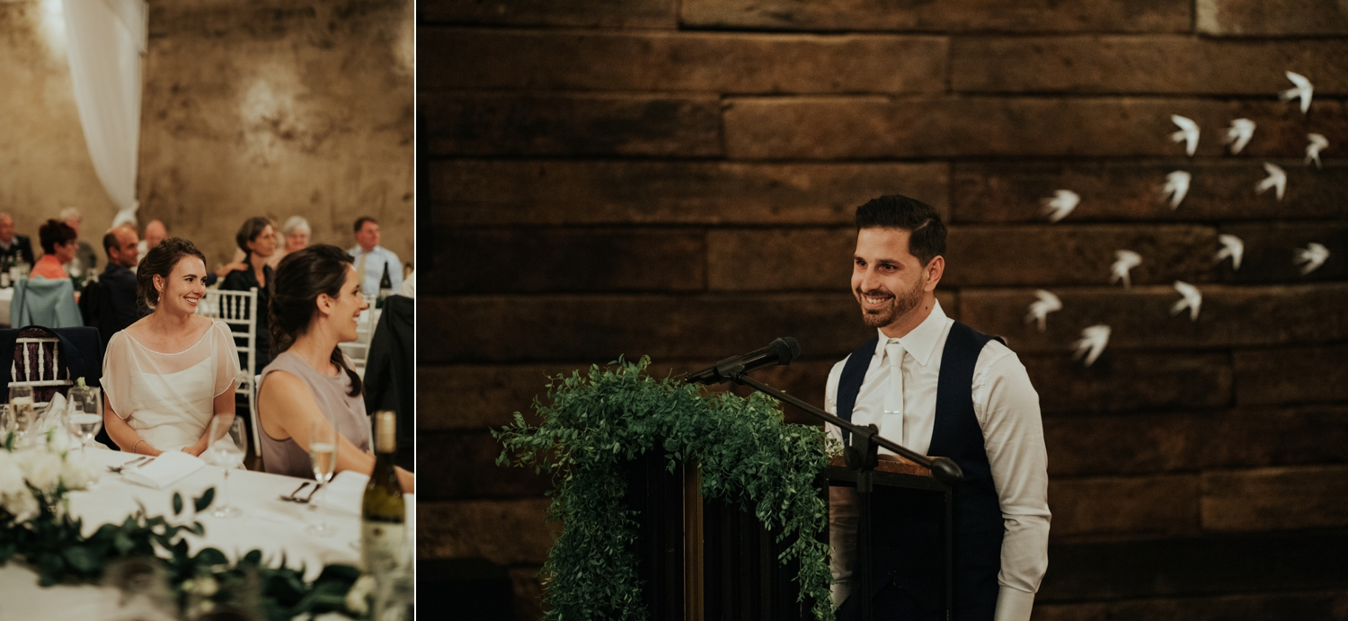 Bride's reaction as her new husband says a moving speech to her at their simple, minimalist wedding in Vancouver