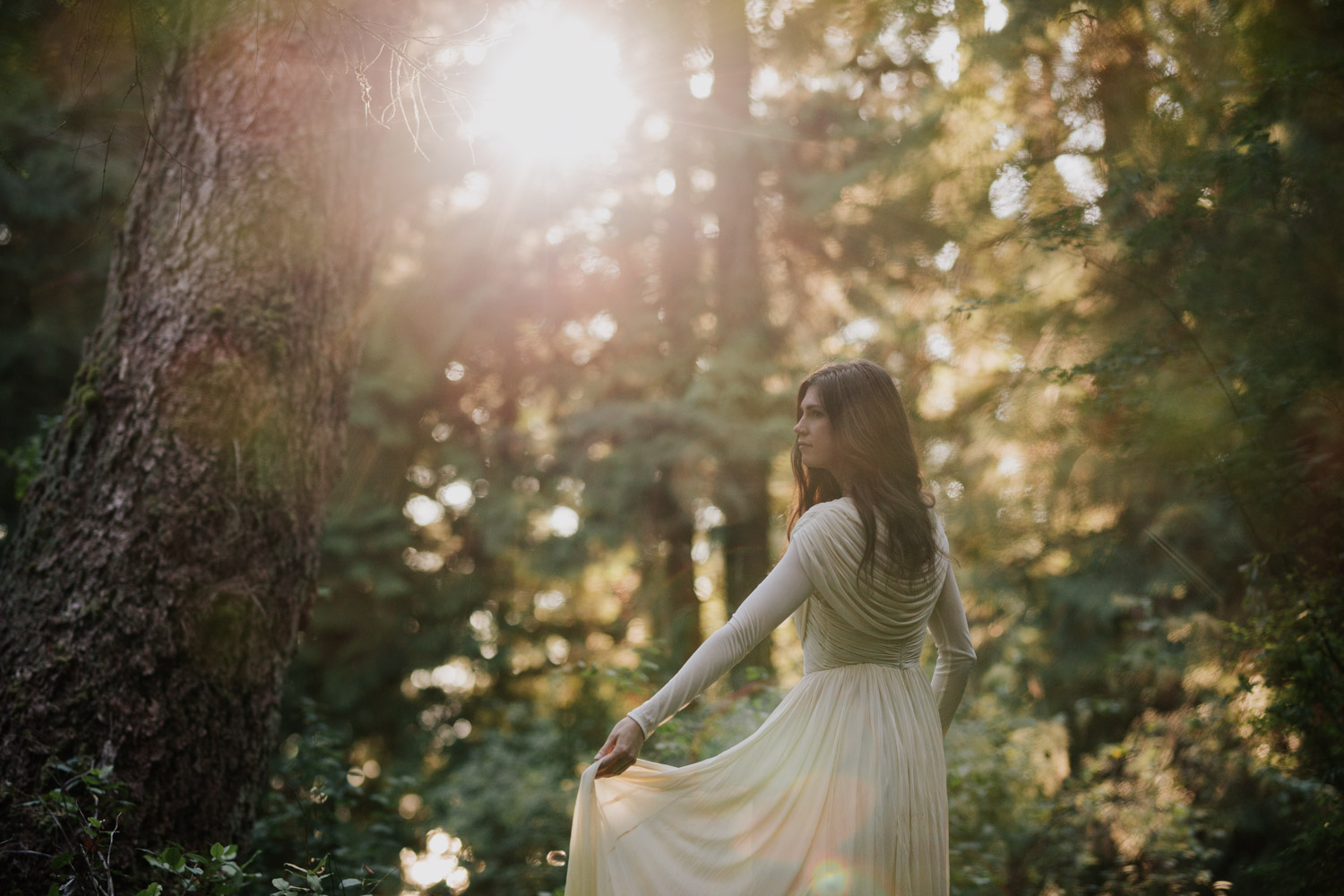 Etherial Sunlight Shines Through Forest Onto Boho Vancouver Island Bride Wearing Long Sleeve Dress