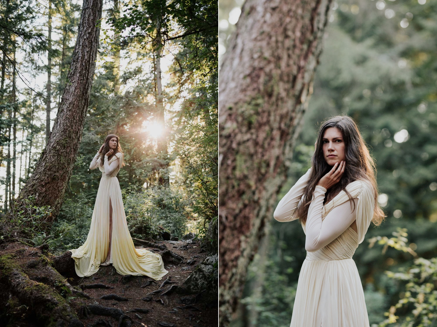Golden Hour Shines Through Forest Onto Boho Vancouver Island Bride Wearing Long Sleeve Dress