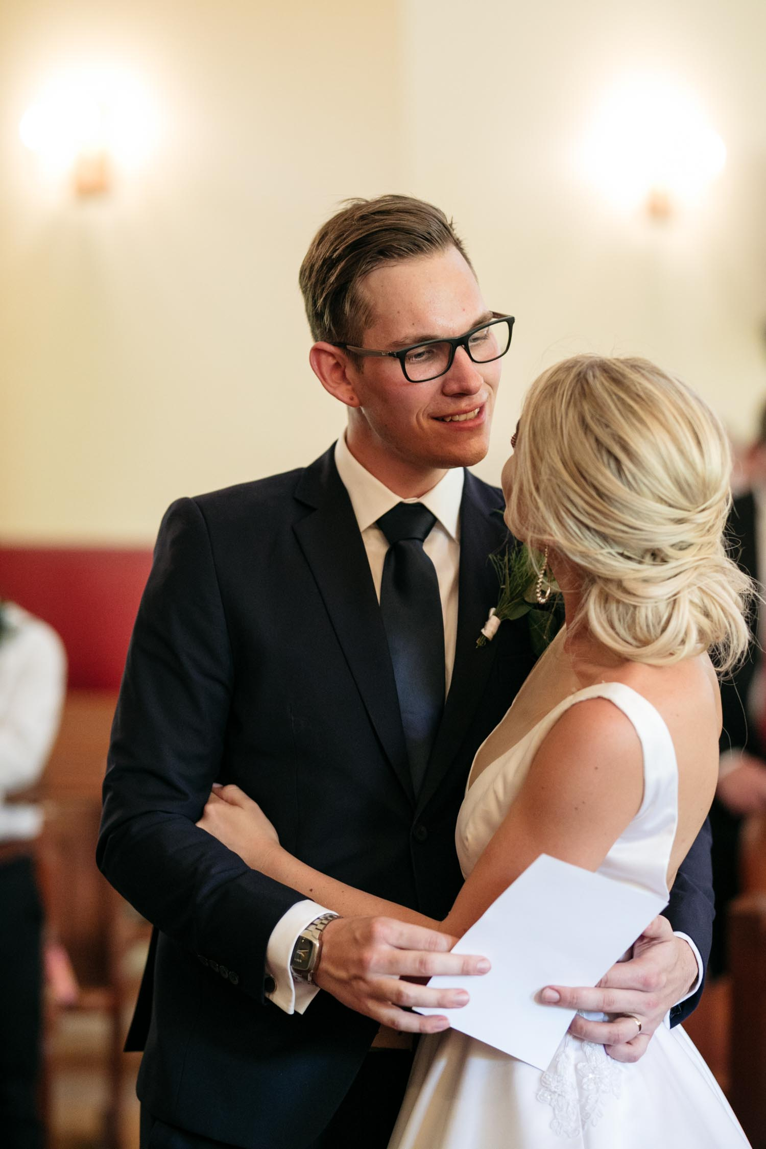 Groom Looks At His Wife For First Time Moment After First Kiss