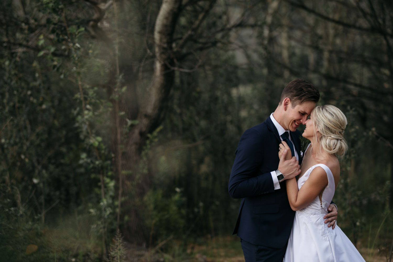 Candid Happy Wedding Photo Of Bride And Groom In Clarens Forest At St Fort Wedding Venue