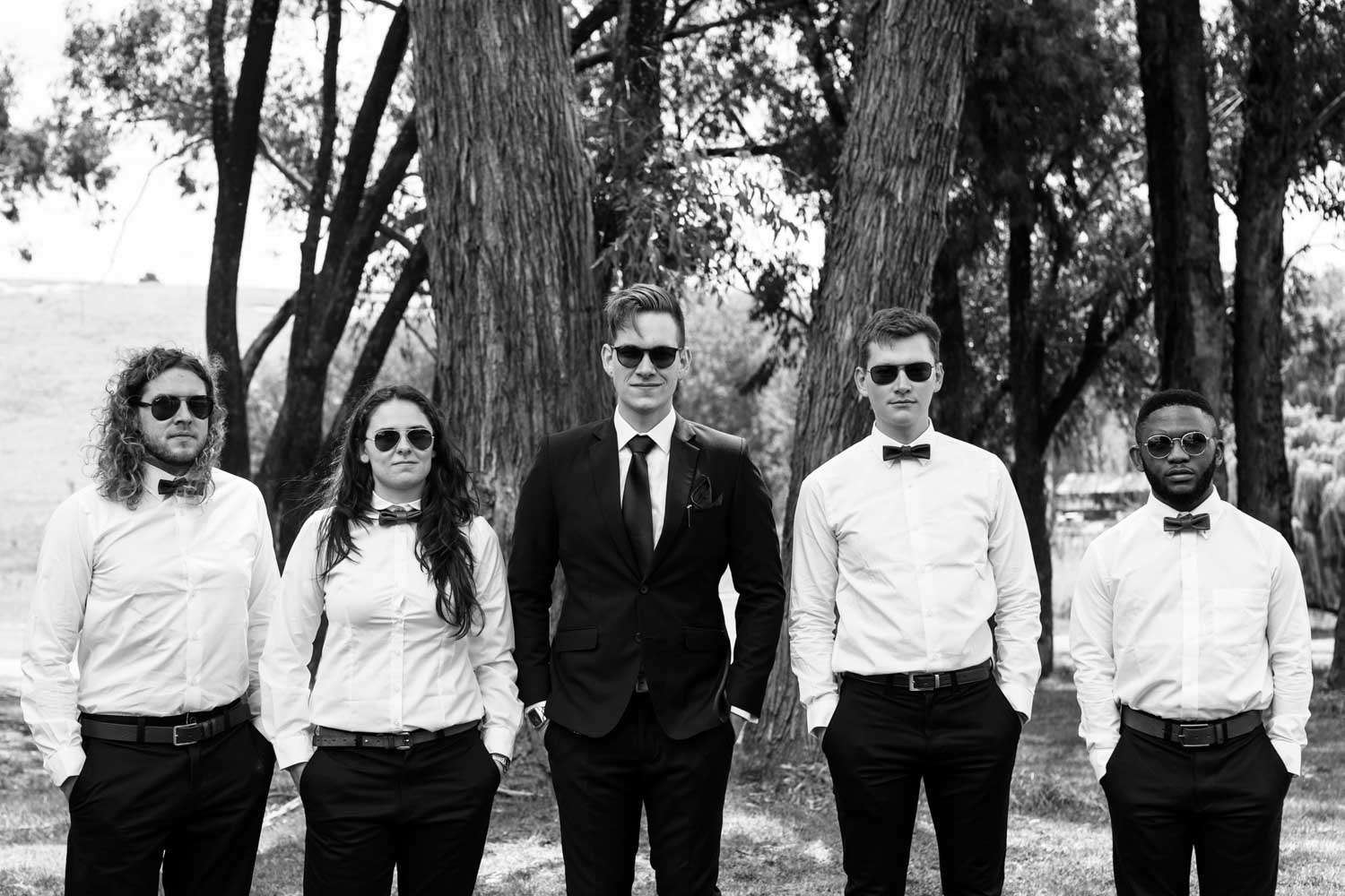 Cool Groom And Groomsmen Bridal Party Photo In Suits And Raybans