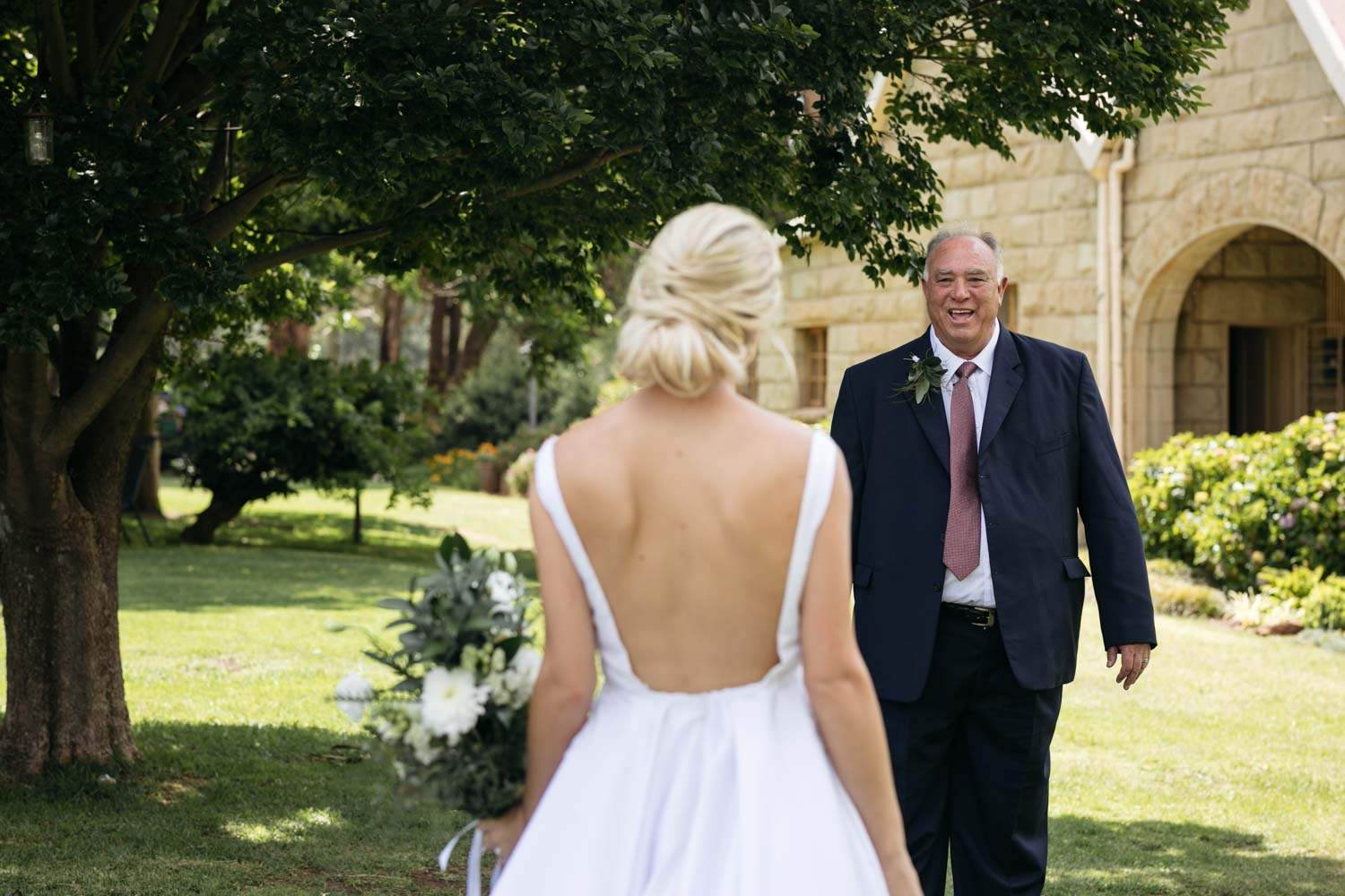 Emotional Reaction When Father Sees Daughter For First Time In Her Backless Simple Modern Wedding Dress