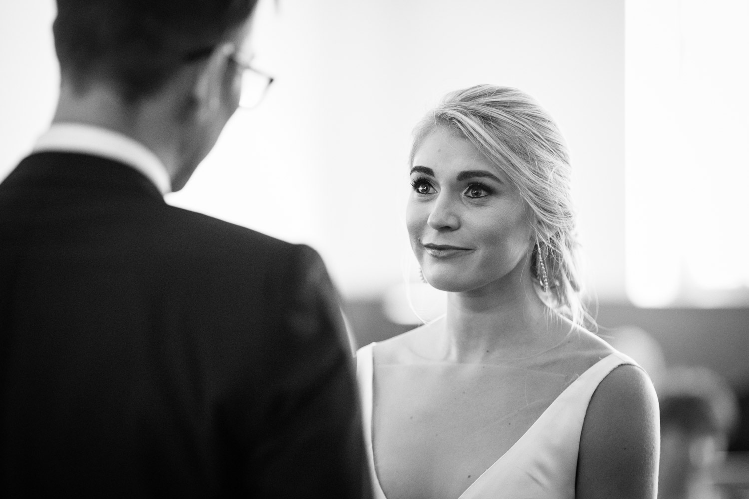 Emotional Candid Moment Bride Listens To Groom Say Vows