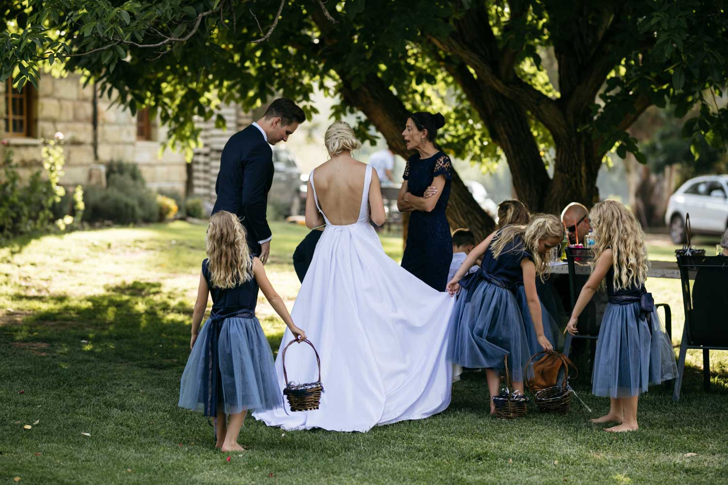 Cute Photo Moment Between Bride And Her Flower Girls