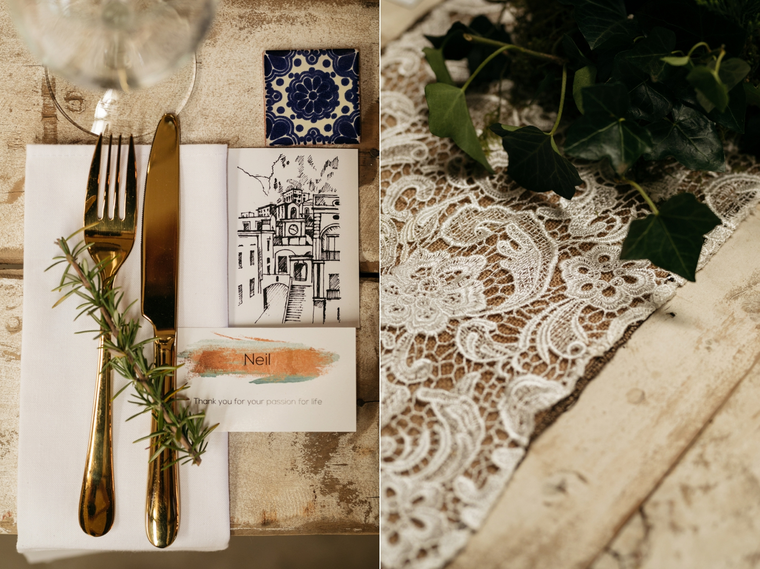 Wedding Table Inspiration Rosemary Sketches Turkish Tiles Lace