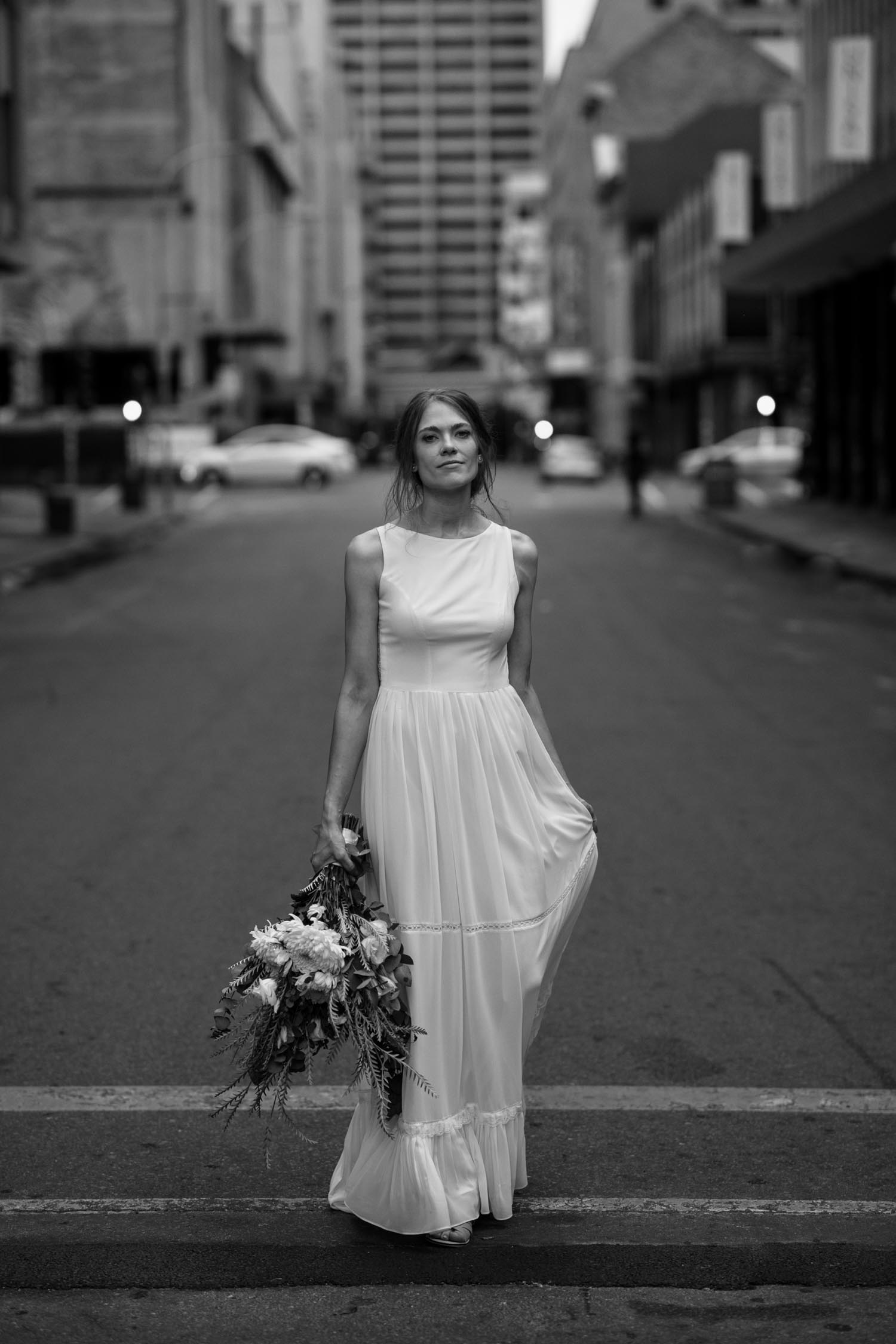 Natural Portrait Of Bride On Vancouver City Streets