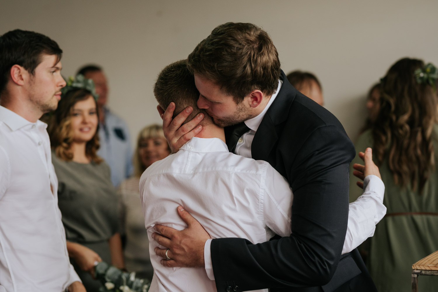 Emotional Raw Real Photo Of Groom Hugging Brother After Wedding Ceremony