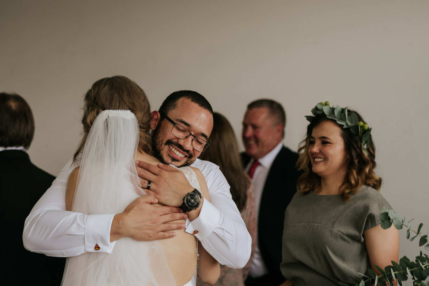 Emotional Raw Real Photo Of Bride Hugging Friends After Wedding Ceremony