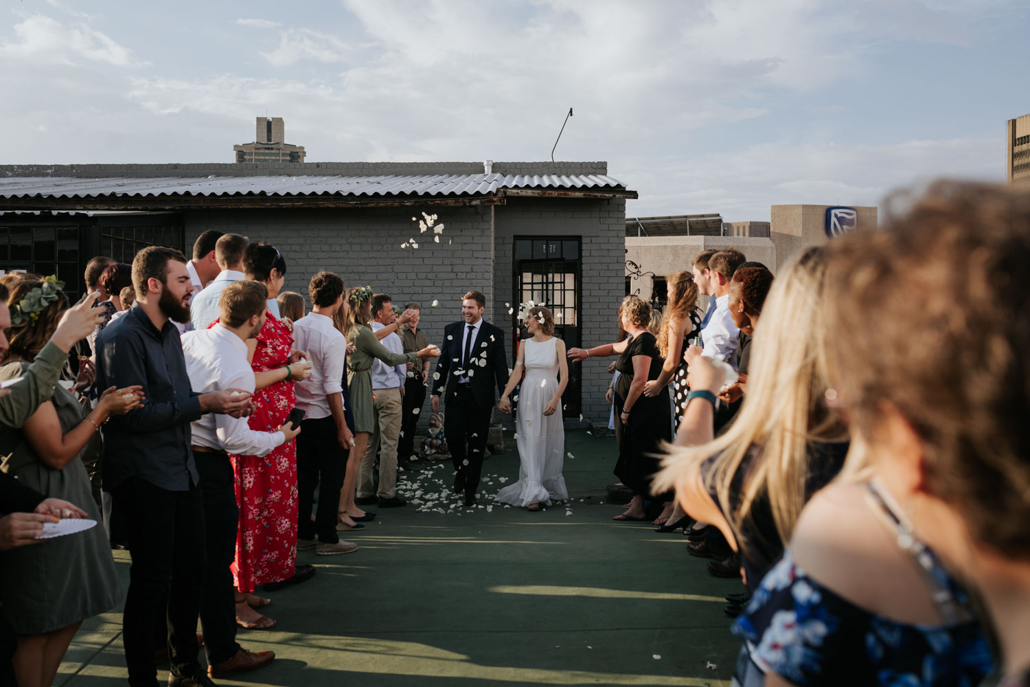 Confetti Throw On Roof Of Vancouver City Wedding Venue