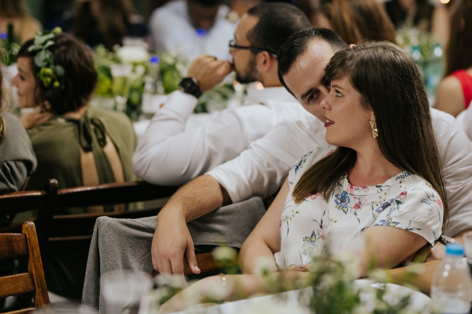 Natural Candid Moments Of Guest During Speeches at Vancouver Wedding