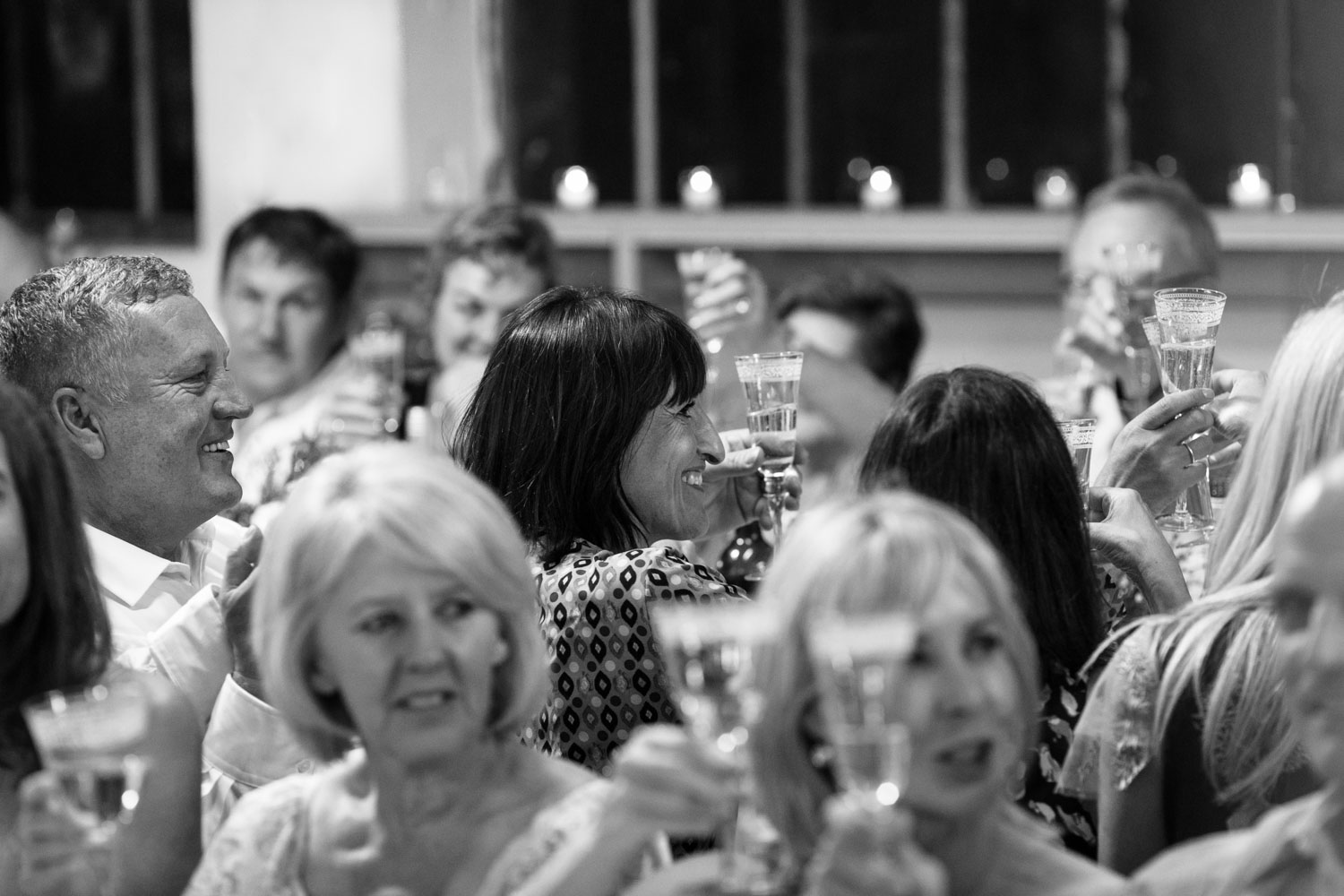 Natural Candid Moments Of Guest During Toast at Vancouver Wedding