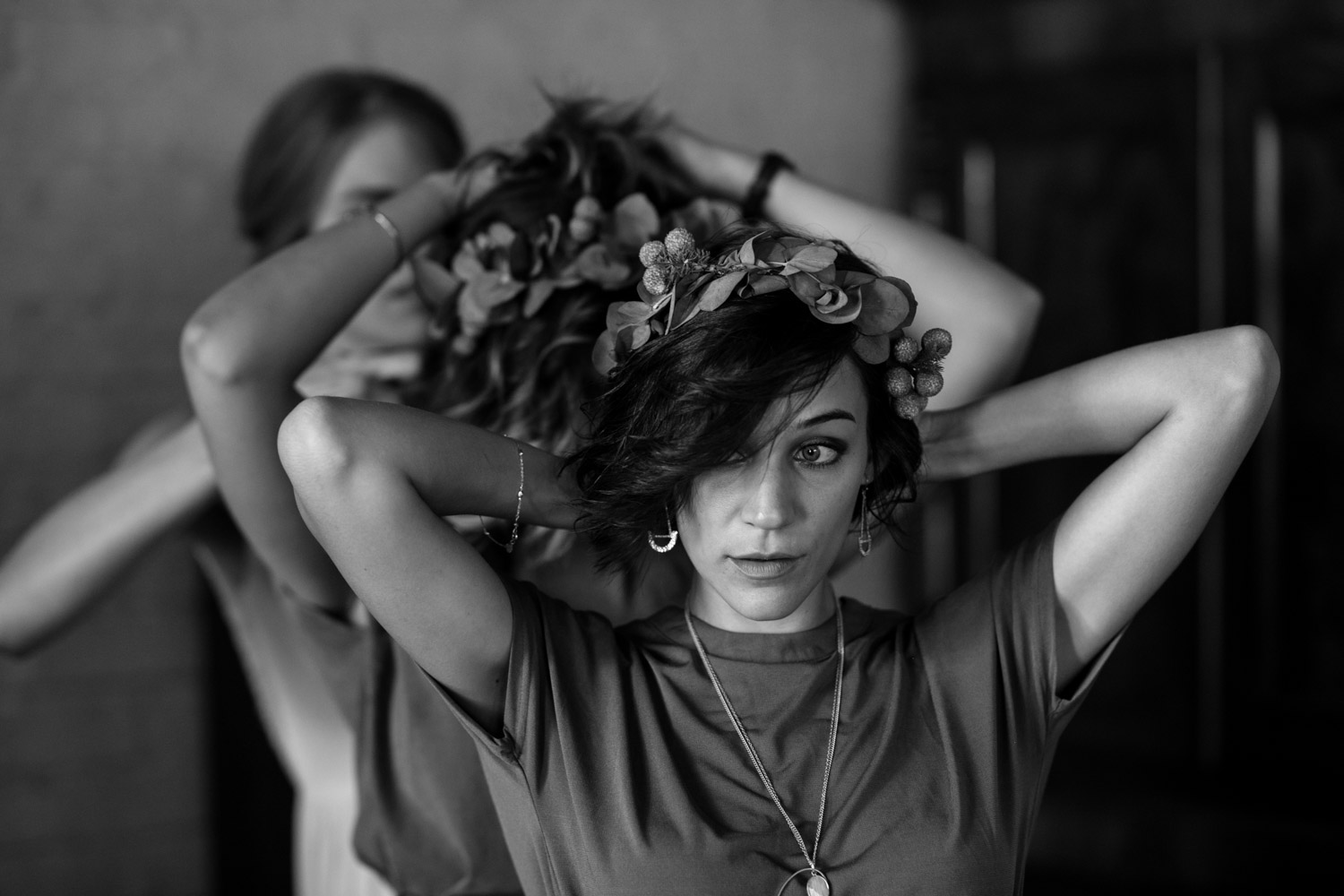 Bridesmaids Get Each Other Get Ready Wearing Trending Olive Green Dresses And Eucalyptus Leaf Flower Crowns