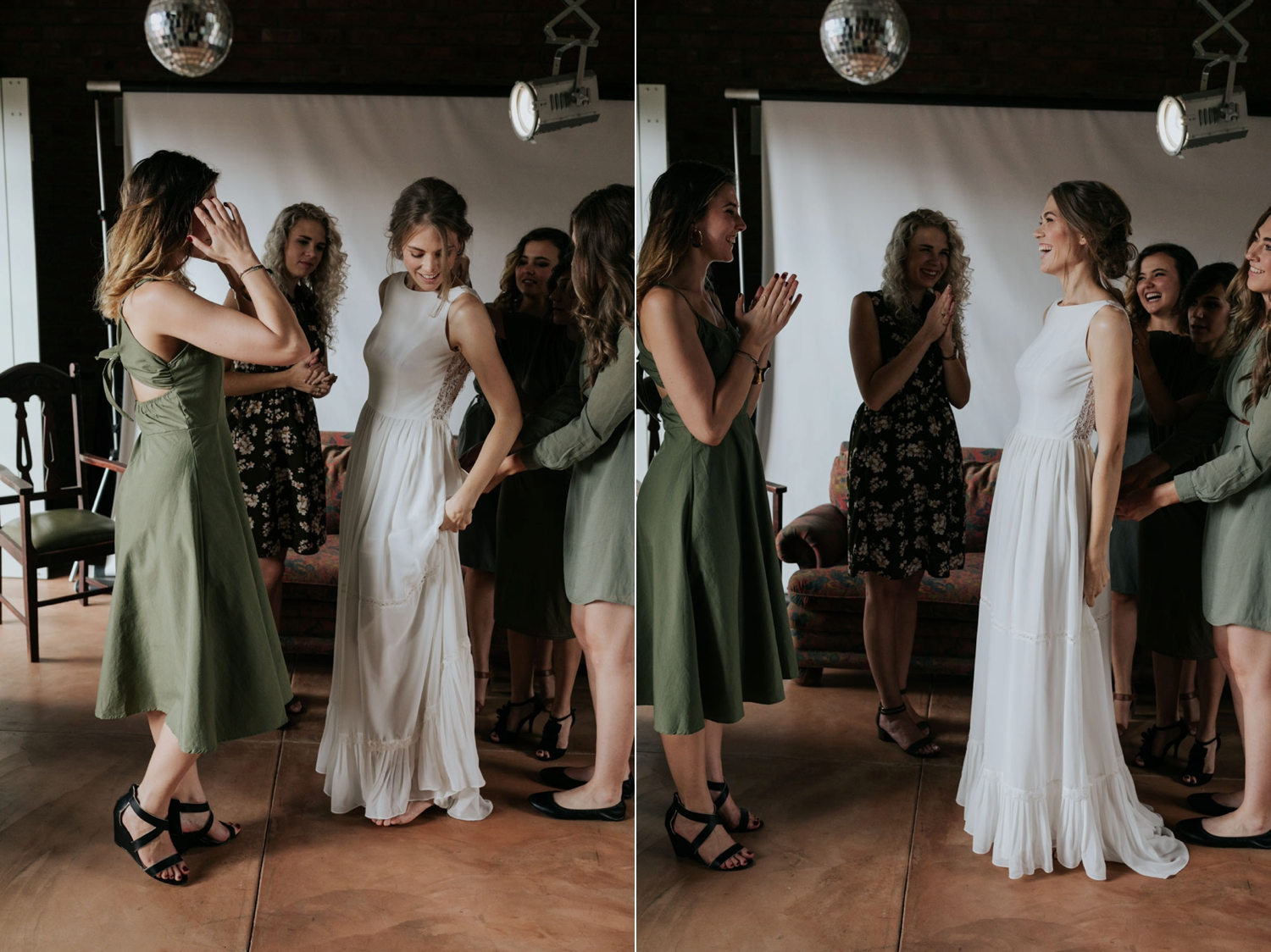Bridesmaids Wearing Olive Green Dresses Help Bride Into Simple Classic Wedding Dress