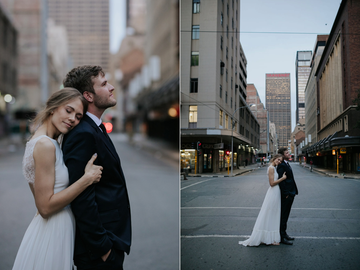 Portrait Of Bride And Groom Standing Middle Of Gastown Street Vancouver