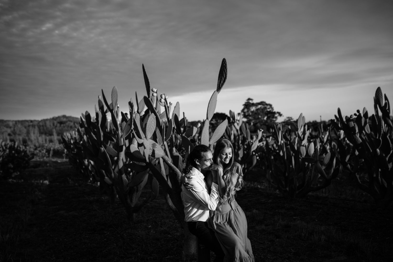 Boho Long Haired Couple Engagement Photo Shoot Cactus Field At Babylonstoren Cape Town