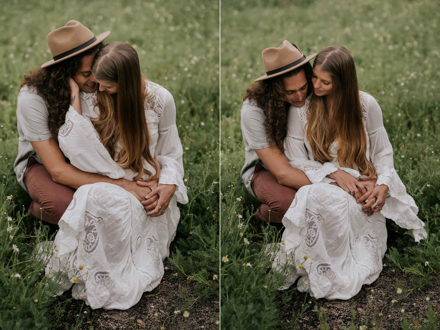 Boho Bride And Groom Sit in Camomile Field at Babylonstoren Cape Town Wedding Venue