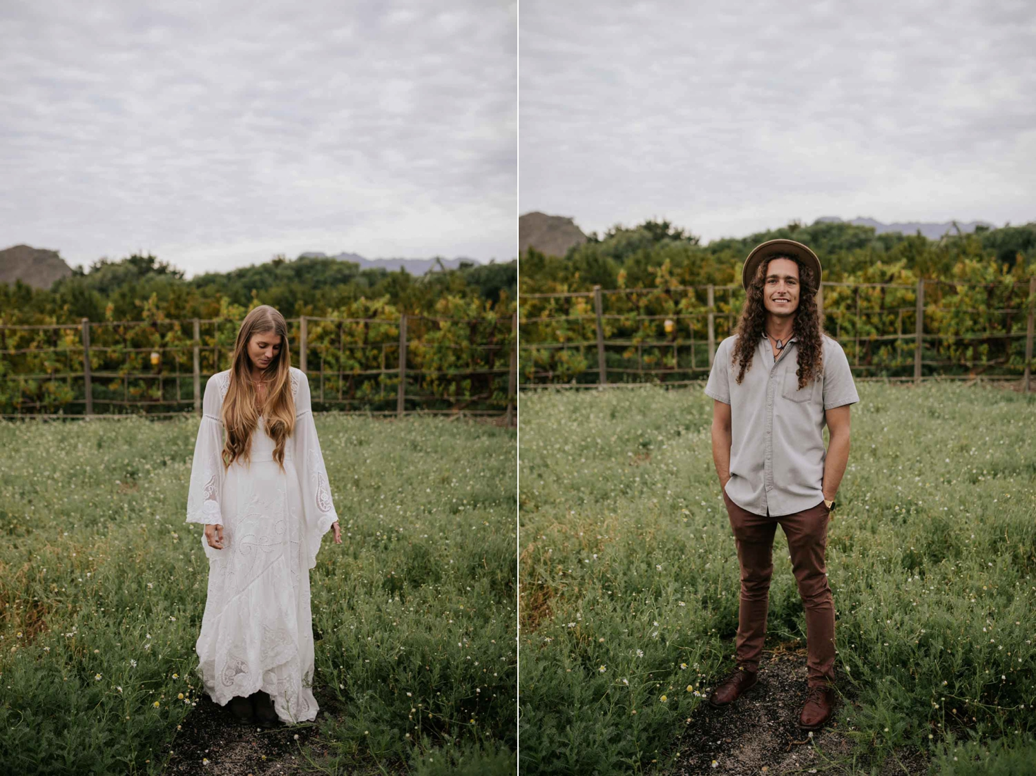Boho Bride And Groom Stands in Camomile Field at Babylonstoren Cape Town Wedding Venue
