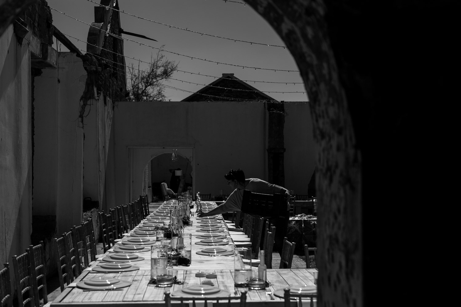 Intimate wedding setup in the ruins of an old farmhouse in Tulbagh, close to the wine lands of Cape Town