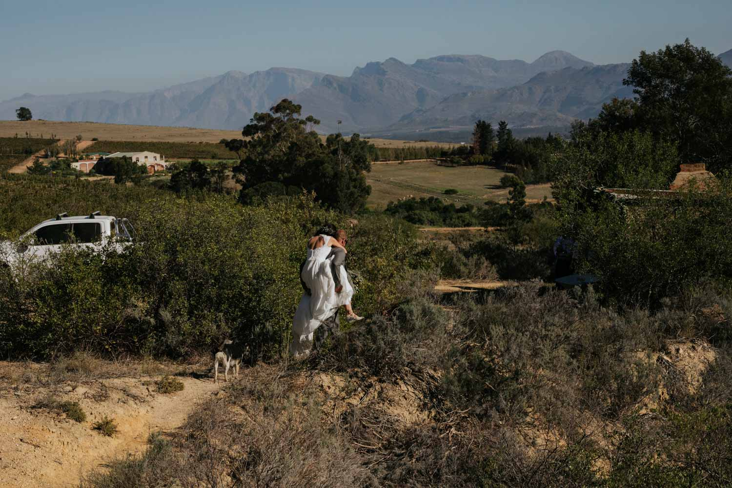 Groom giving his bride a piggy back ride as they walk down a farm road with their dog surrounded by mountains in Tulbagh, Cape Town.