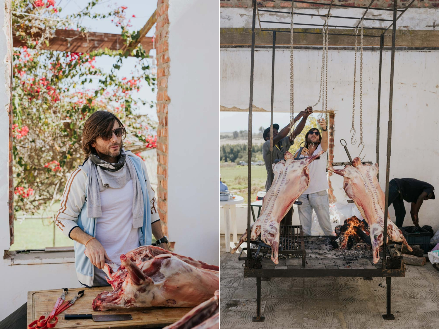 Different wedding food - a Argentina chef hanging up legs of lamb on an open fire like in Chef's Table