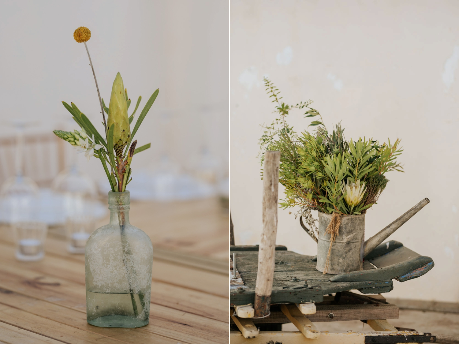 Green and white fynbos wedding flower arrangements on tables and in old farm watering can
