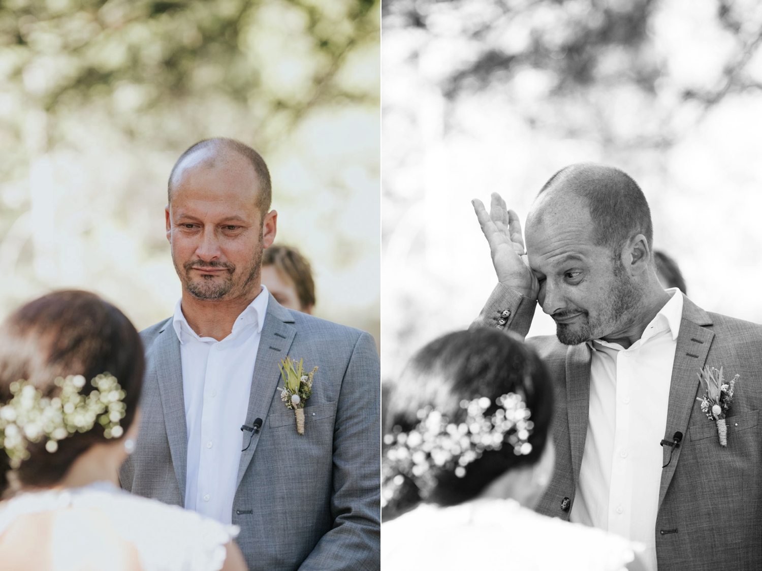 Groom rubbing his eyes and crying tears of joy as he gets married in Tulbagh, in the mountains close to Cape Town, South Africa.