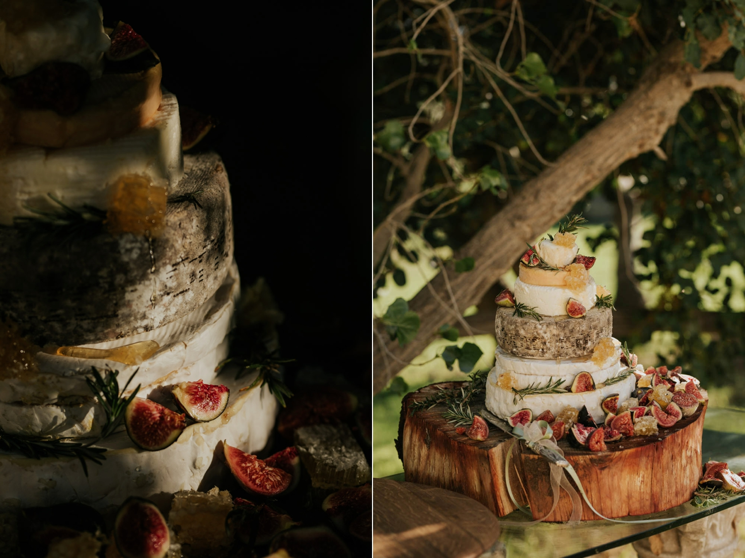 An alternative, different kind of wedding cake make up of layers of French cheese wheels, figs and other types of fruit, with a wooden stump as a cake stand.