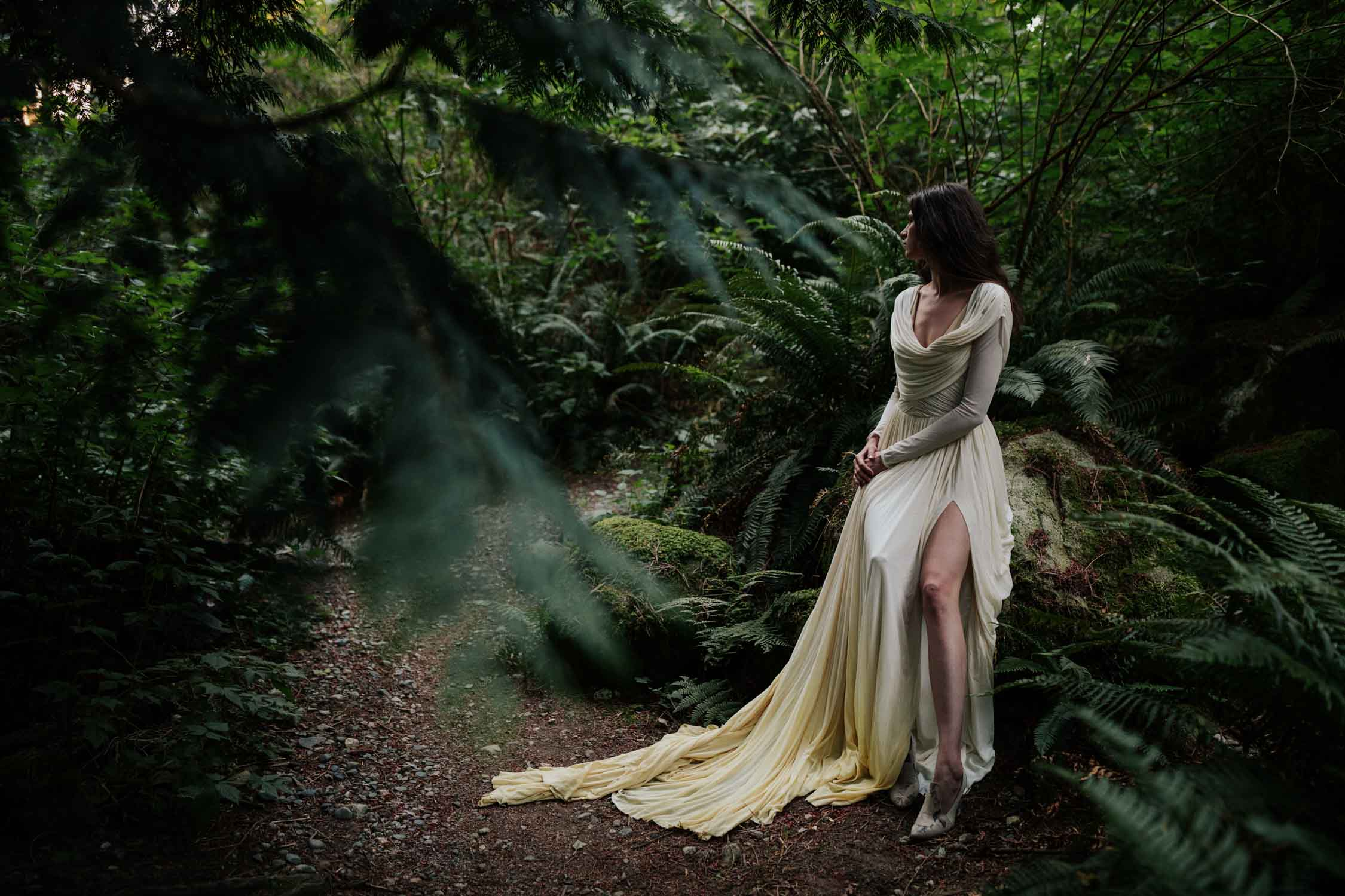 Boho Bride In Forest At Light House Park West Vancouver