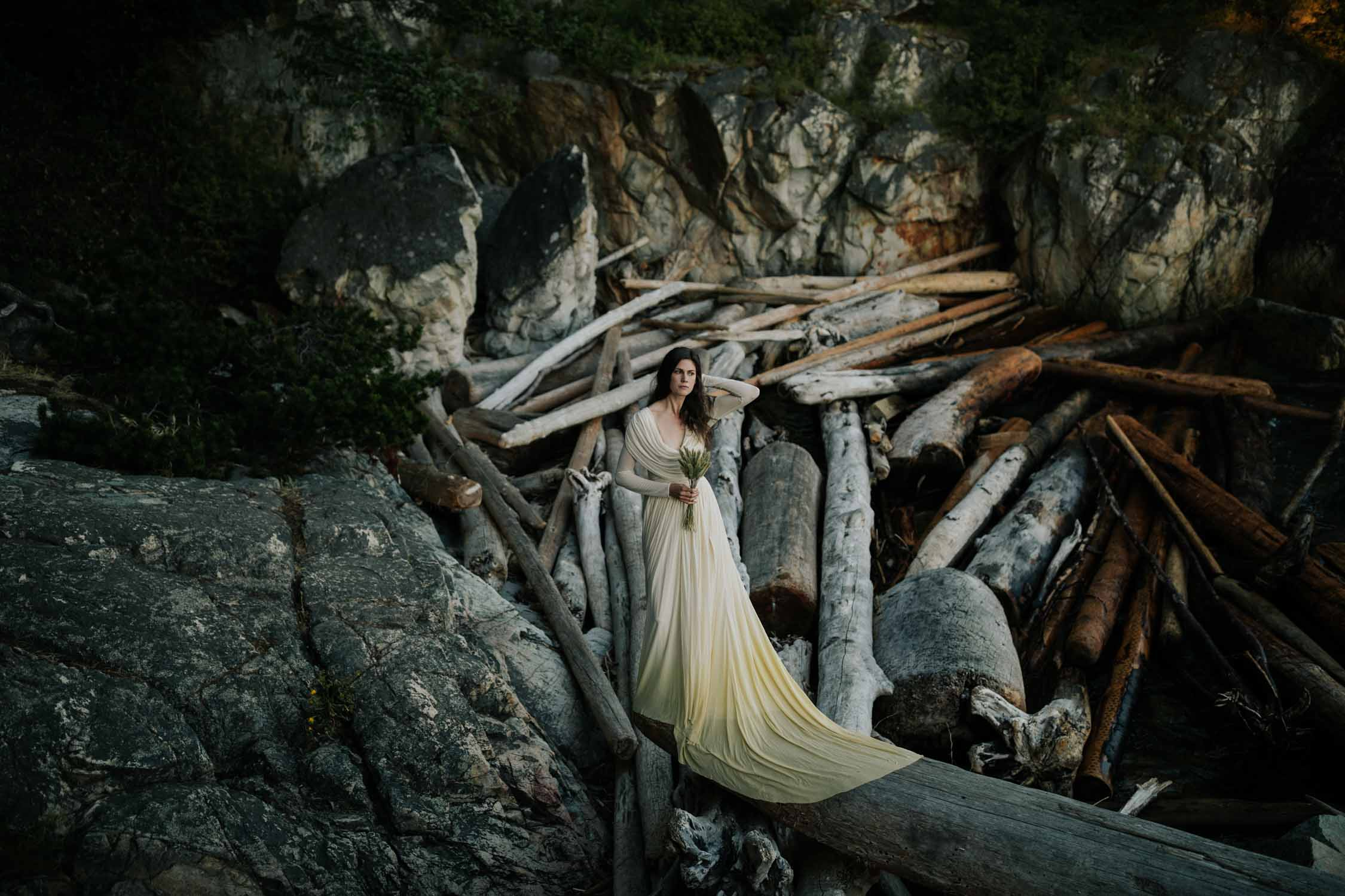Epic Photo Of Bride At Lighthouse Park On The Ocean In West Vancouver BC