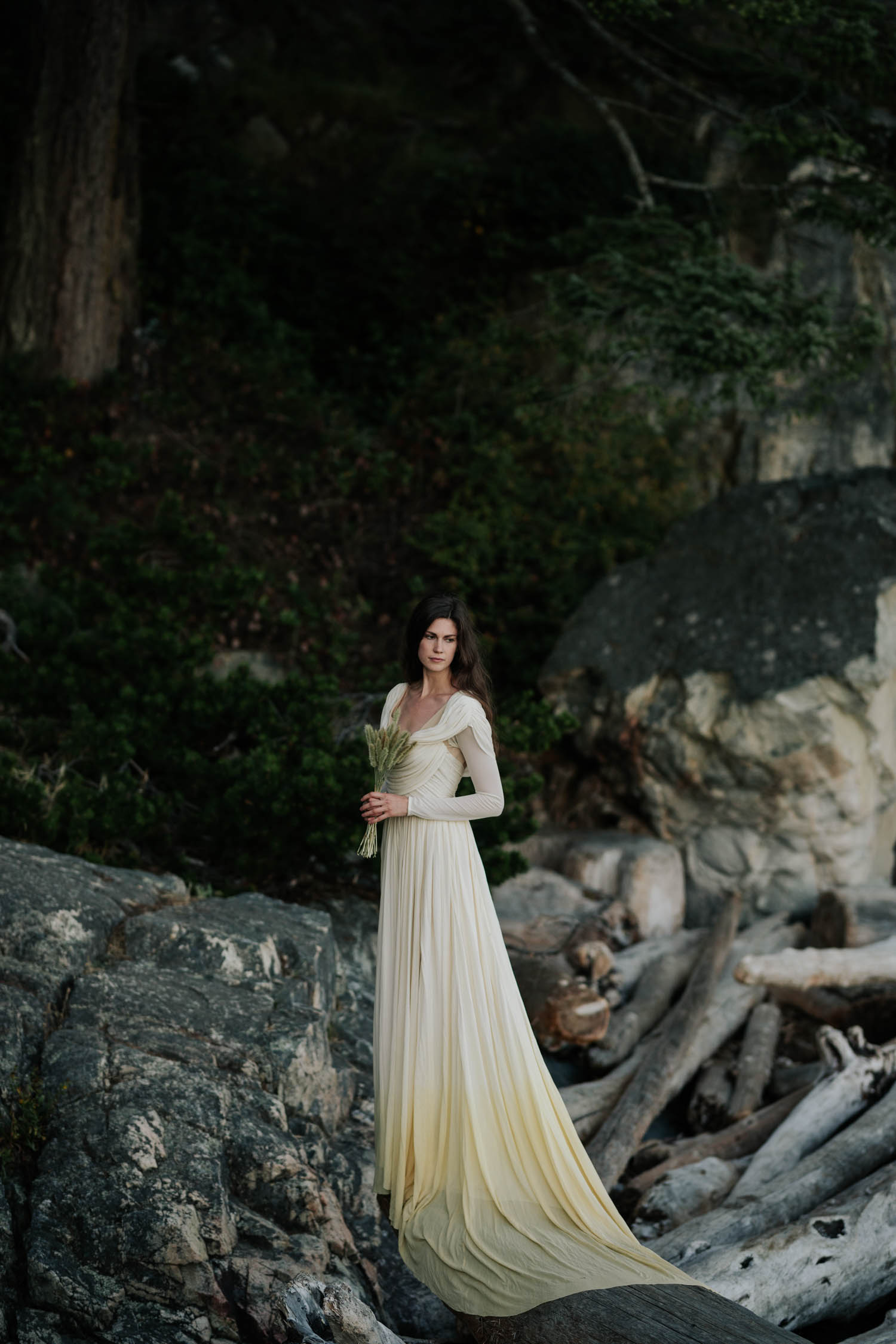Trending Grass Wedding Bouquet Inspiration And Two Toned Wedding Dress