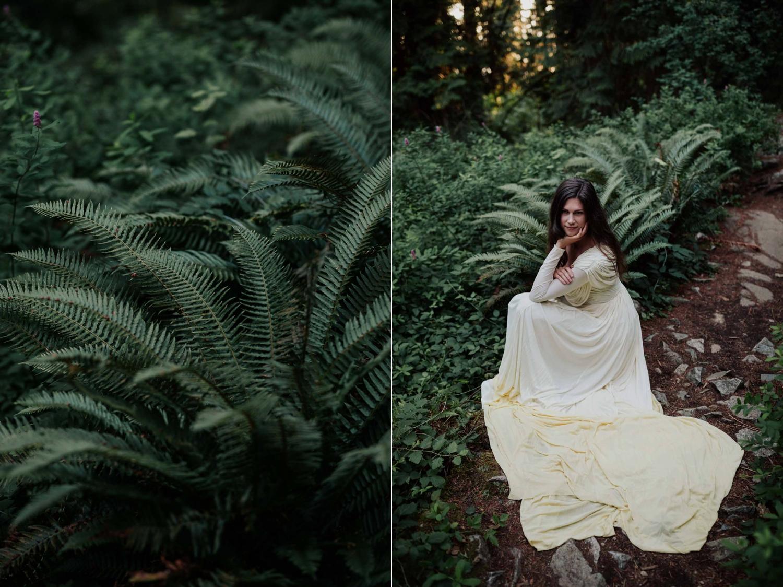 Boho Bride In Ferns At Lighthouse Park West Vancouver