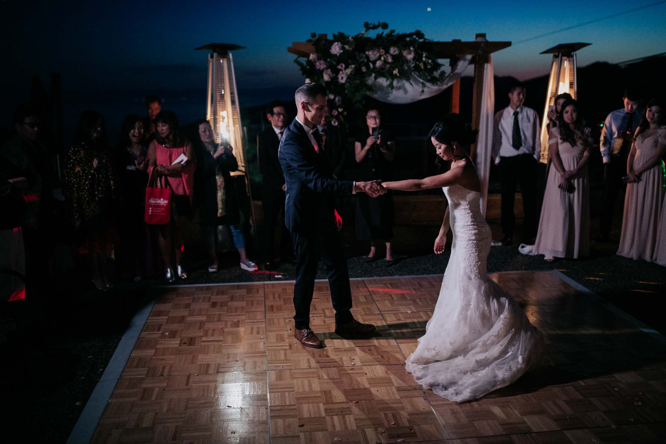 Bride Groom First Dance Altitudes Bistro Sunset Grouse Mountain
