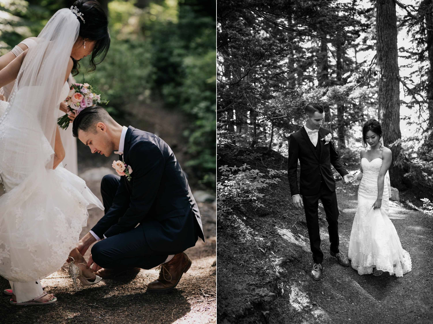 Groom Puts on Bride's Shoe Candid Moment