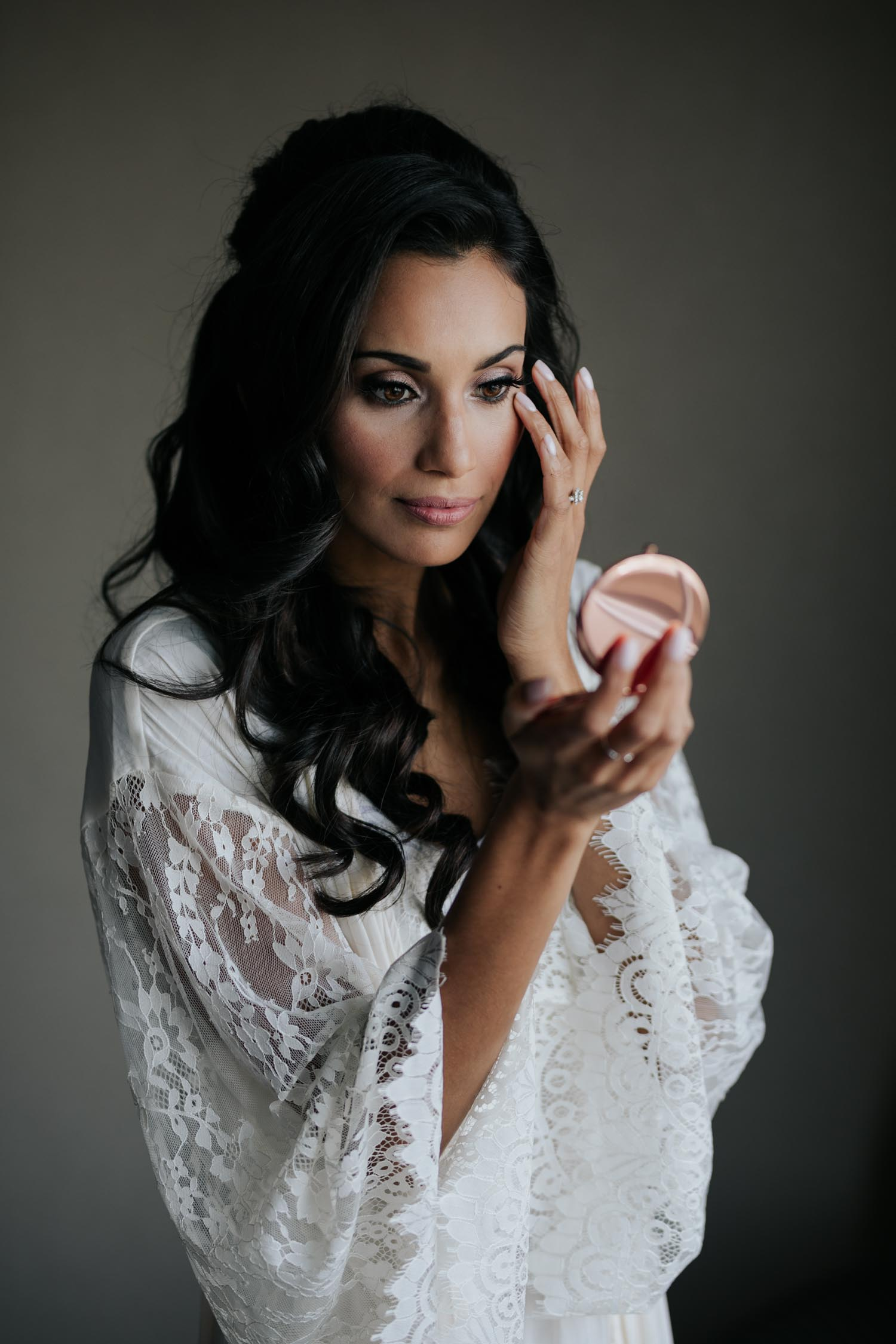 Natural bridal makeup and white lace gown for getting ready photos before Madsen's Greenhouse wedding in Newmarket, Toronto.