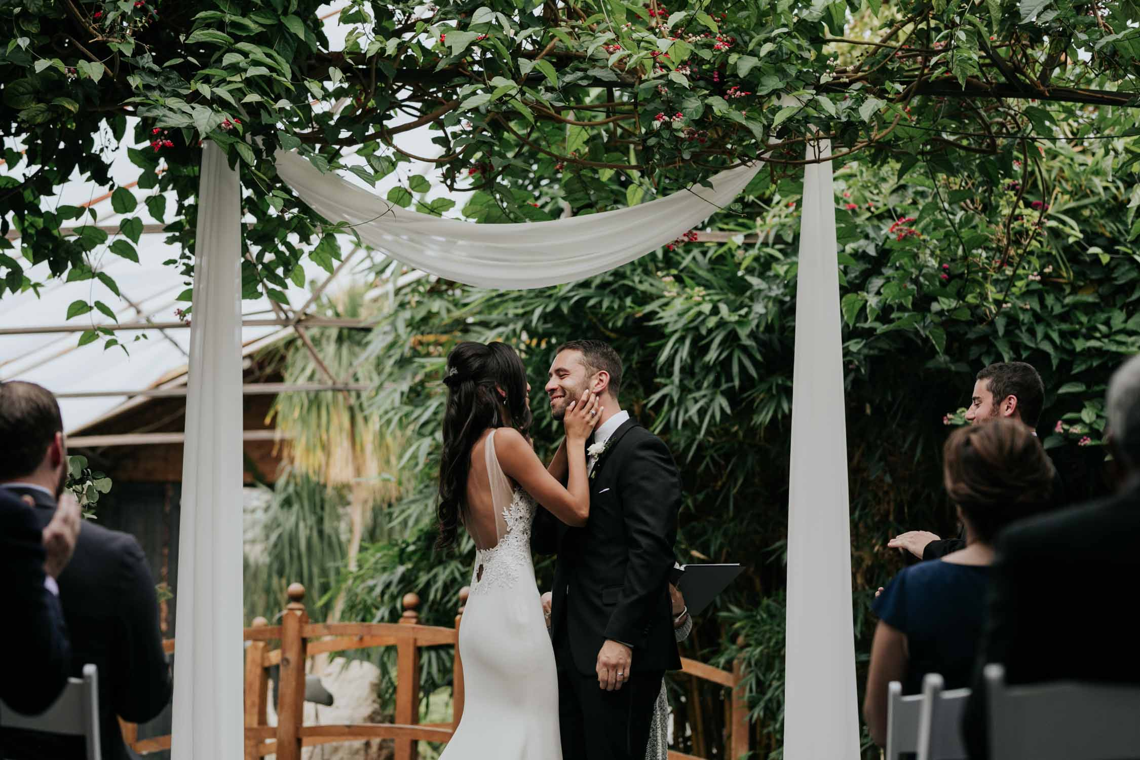 The moment before the first kiss at Madsen's Greenhouse wedding venue in Newmarket close to Toronto