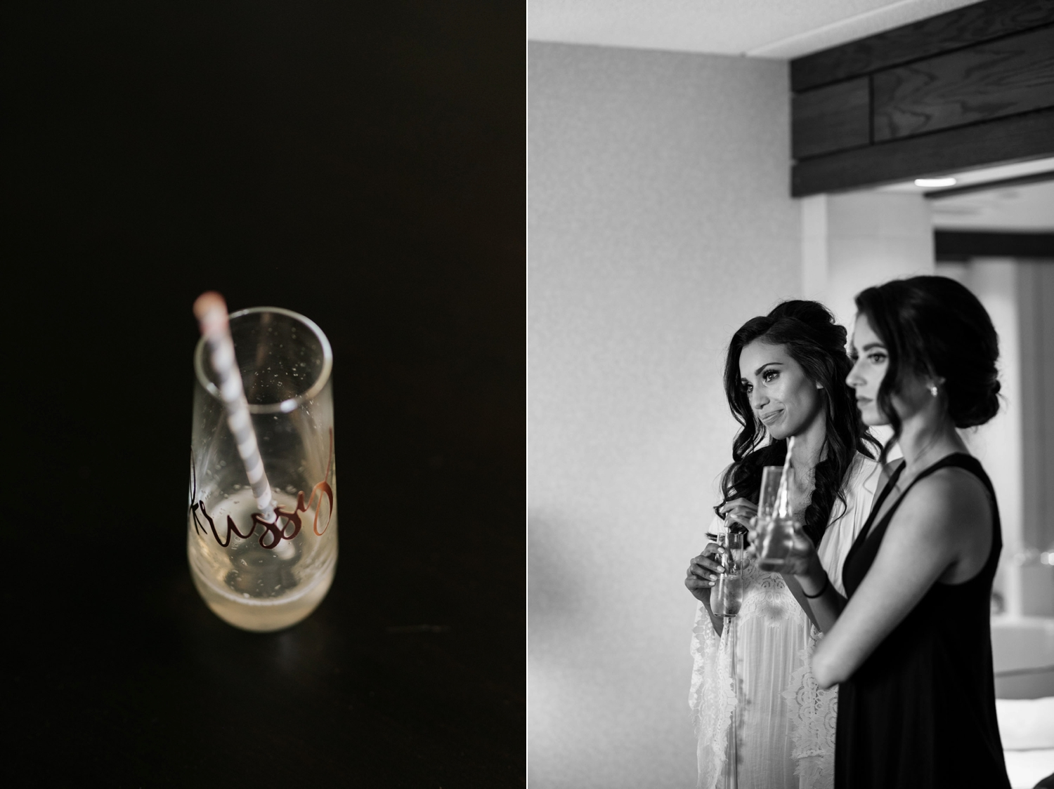 Personalised stemless champagne glasses for bride and bridesmaids getting ready photos before Newmarket Wedding at Madsen's Greenhouse