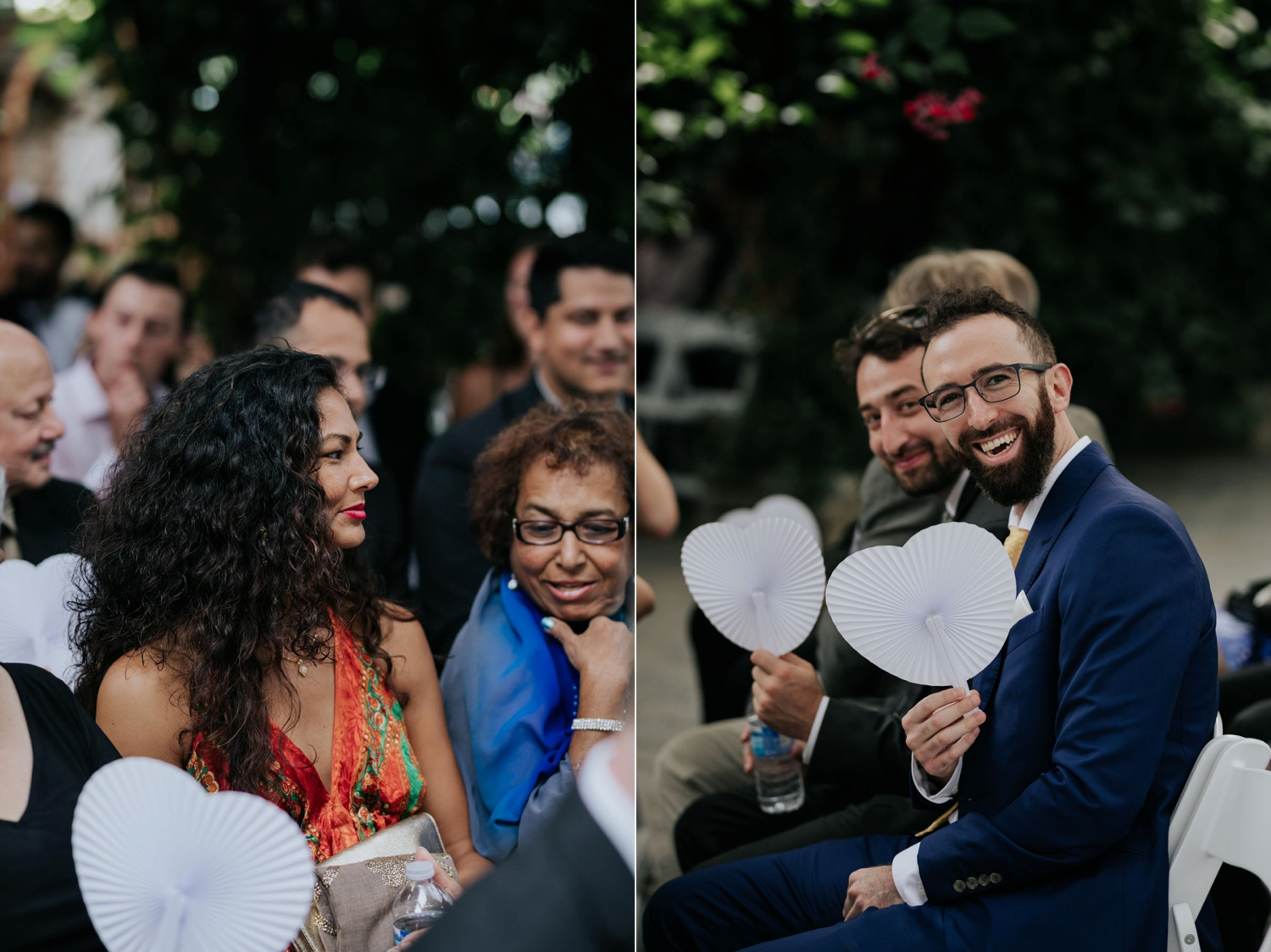 Guests with white heart paper fans in Greenhouse chapel at Madsen's Greenhouse wedding venue in Newmarket close to Toronto