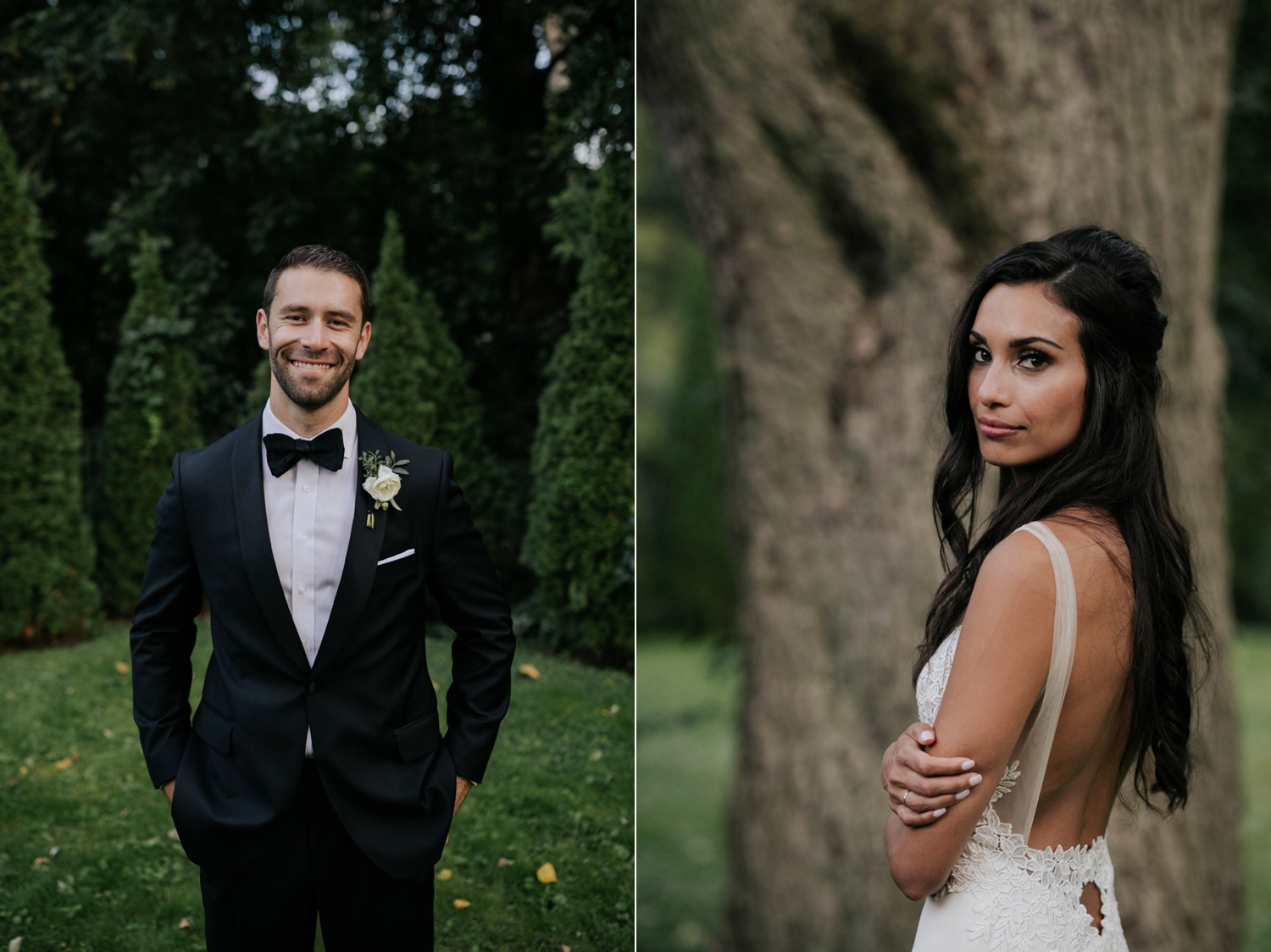 Groom and bride portraits at Madsen's Greenhouse wedding venue in Newmarket close to Toronto