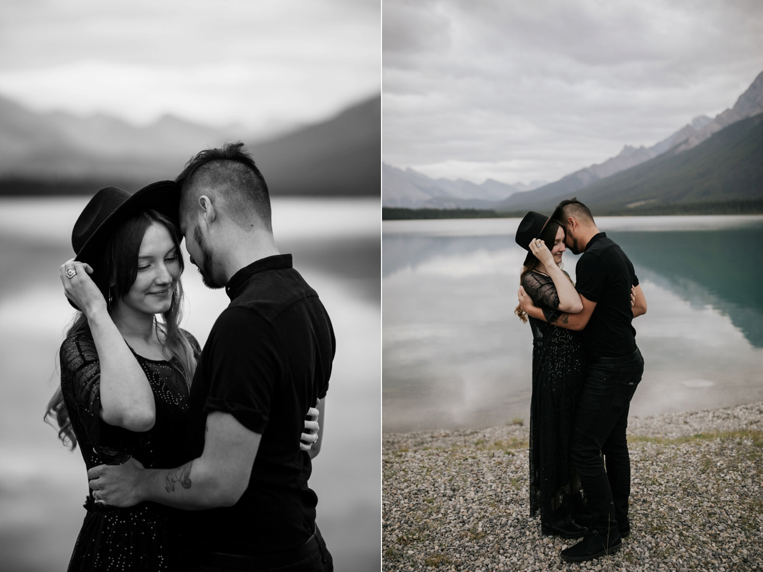 Hipster Wife Holds Onto Black Felt Hat As Husband Holds Onto Her In Front Of Lake Louise