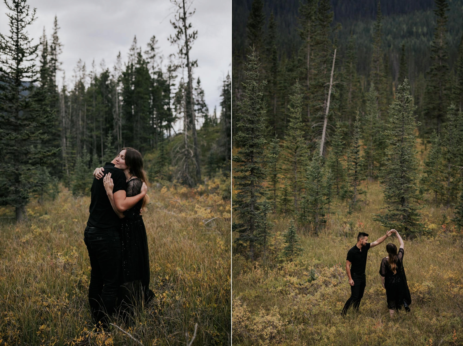 Engaged Hipster Alternative Couple Dancing Hugging In BC Forest And Yellow Field