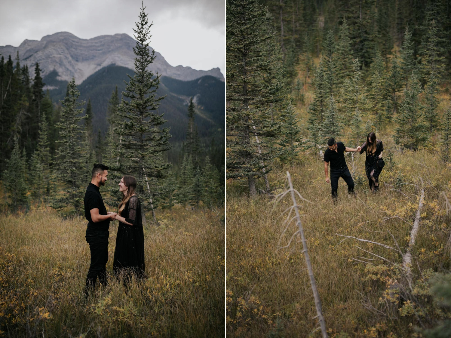 Engaged Hipster Alternative Couple Holding Hands And Walking In Forest in BC Forest